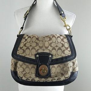 Coach Ali Legacy Turnlock Flap Khaki&black handbag